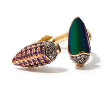 Floaty Scarab Diamond, Gold & Silver Ring