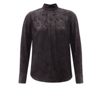 Riley High-neck Camouflage-jacquard Blouse