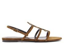 Cassandra Ysl-logo Embellished Suede Sandals