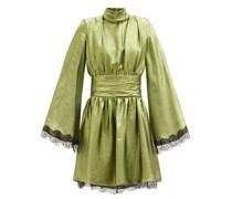 Wide-sleeve Lace-trimmed Silk-blend Lamé Dress