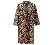 Single-breasted Leopard-print Linen-blend Coat