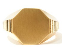 Ridged-band 24kt Gold-plated Signet Ring