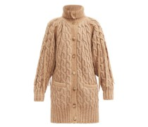 Cable-knit Foldover Collar Cardigan