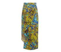 Asymmetric Uv Floral-print Silk Skirt