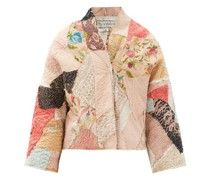 Cassie Floral-embroidered Patchwork Silk Jacket