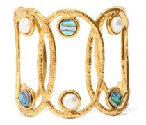 Jackie Pearl & Abalone Gold-plated Cuff