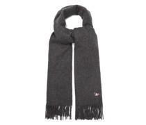 Tricolour Fox-patch Tasselled Wool Scarf