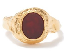 Fire In His Eyes Cornelian & 24kt Gold-plated Ring