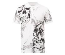 Skull-print Cotton-piqué Polo Shirt