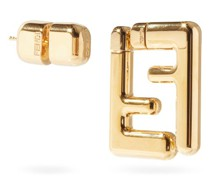 Mismatched Ff Gold-tone Earrings