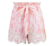 Paperbag-waist Tie-dyed Cotton Shorts