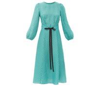 Selma Geometric-print Twill Midi Dress