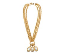 Pearl & Brass Pendant Necklace