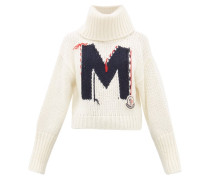 Logo-jacquard Roll-neck Chunky-knit Sweater