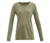 Distressed-hem Slubbed-cotton Long-sleeved T-shirt
