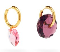 Mismatched Crystal & 24kt Gold-plated Earrings