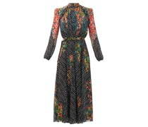 Jacqui B Coral Blossom-print Silk Midi Dress