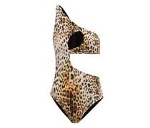 One-shoulder Leopard-print Jersey Swimsuit