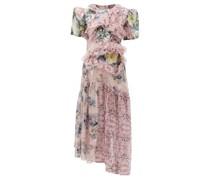 Anzu Panelled Lace-trim Floral-print Dress