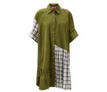 Ruffle-hem Upcycled Patchwork Cotton Shirt Dress