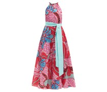Julia Floral-print Tiered Halterneck Cotton Dress