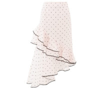 Antoinette Polka-dot Ruffled Silk-blend Skirt