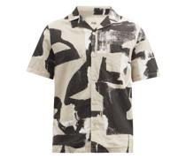 Olio-print Linen-blend Canvas Shirt