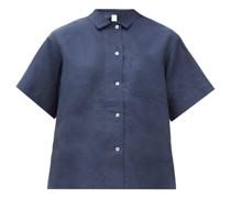 Mother-of-pearl Buttoned Linen Pyjama Shirt