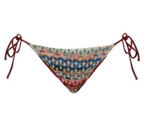 Patterned Knitted-mesh Bikini Briefs