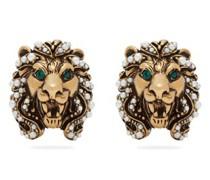 Lion Faux Pearl-embellished Clip Earrings