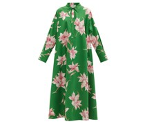 Lily-print Cotton-poplin Maxi Shirt Dress