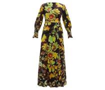 Botanical-print Silk-blend Cloqué Maxi Dress