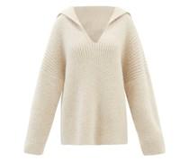 Sailor-collar V-neck Ribbed Sweater