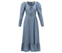 Alyssa Lace-up Denim Midi Dress