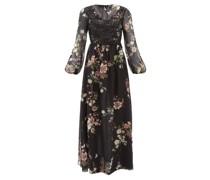 Lace & Floral-print Silk-georgette Dress
