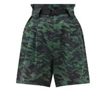 The Talia Camouflage-print Linen Shorts