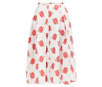 Ina Pleated Rose Fil-coupé Twill Midi Skirt