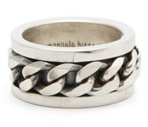Curb-chain Sterling-silver Ring