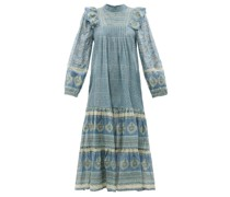 Margo Belted Floral-print Cotton-voile Maxi Dress