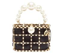Holli Faux-pearl, Crystal And Satin Cage Handbag