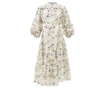 Gracia Floral-print Ruffle-trimmed Silk Midi Dress