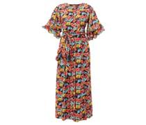 Floral-print Tiered-sleeve Poplin Dress