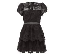Bow-neck Guipure-lace Mini Dress