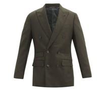 Peak-lapel Wool-blend Double-breasted Jacket