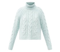 Freja Roll-neck Cable-knit Silk Sweater