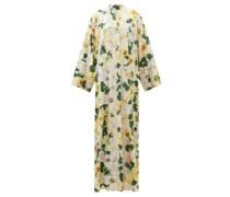 Camelia-print Silk-blend Charmeuse Gown