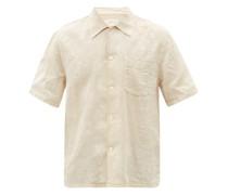 Line Short-sleeved Cotton-blend Shirt