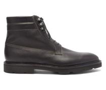 Alder Topstitched Pebbled-leather Boots