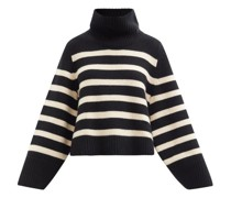 Marion Striped High-neck Cashmere Sweater
