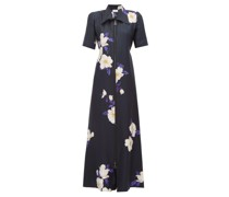 Zip-front Floral-print Silk Dress